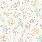 Jungle Friends - 7039 - Animal Outline on Cream Background  - 2199_Q - Cotton Fabric